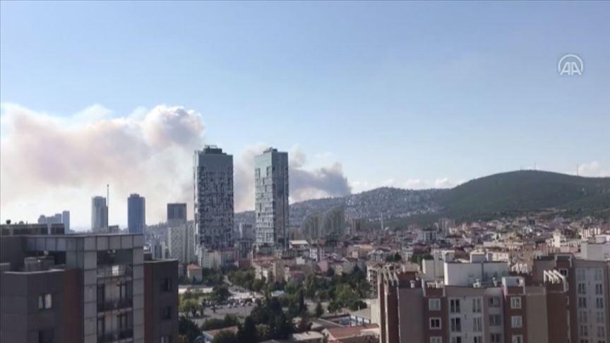 Maltepe'de askeri alanda yangın