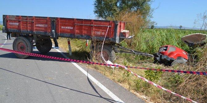 Traktörle motosiklet çarpıştı