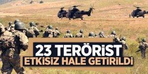 TSK 23 teröristin etkisiz hale getirildiğini açıkladı
