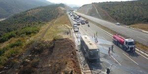 Bursa'da yolcu otobüsü yandı