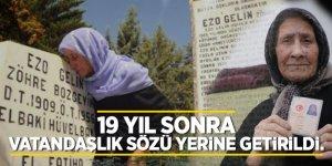 19 yıl sonra vatandaşlık sözü  yerine getirildi! Ezo Gelin'in kızı