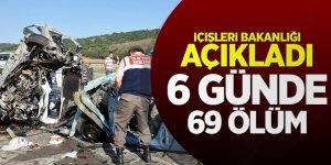 İçişleri Bakanlığı açıkladı: 6 günde 69 ölüm