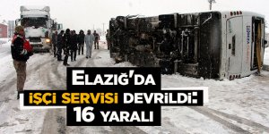 Elazığ'da işçi servisi devrildi: 16 yaralı
