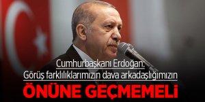 Cumhurbaşkanı Erdoğan: Görüş farklılıklarımızın dava arkadaşlığımızın önüne geçmemeli