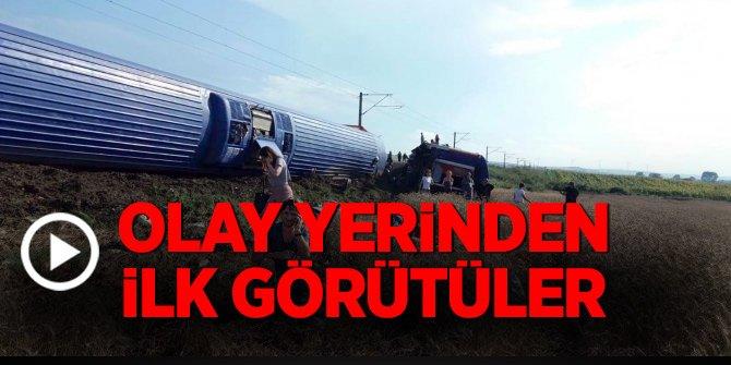 Çorlu'da yolcu treni raydan çıkarak devrildi!