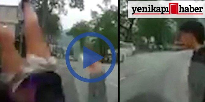 Taksiye çarpan kız havaya uçtu! İşte görüntüler