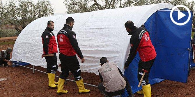 İHH'dan Suriye'de sel mağduru ailelere çadır yardımı!