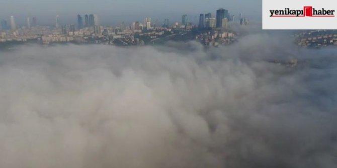 İstanbul sise teslim oldu, köprüler adeta kayboldu