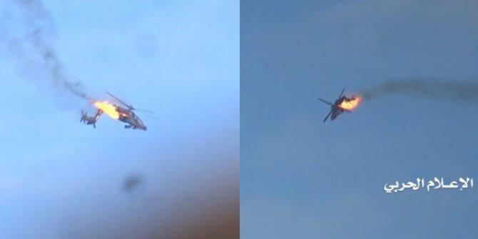 Suudi Arabistan'a ait helikopteri düşürdüler! Bomba görüntüler