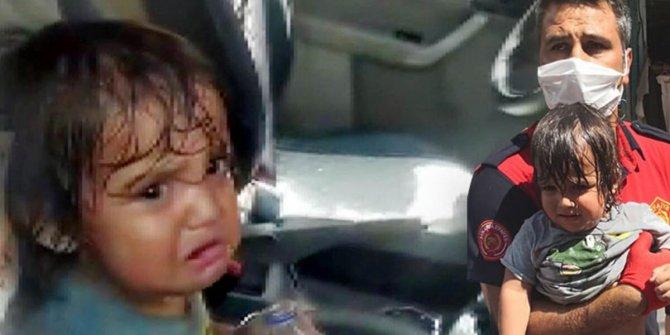 Ailesinin bıraktığı otomobilde havasız kalan küçük kızı itfaiye kurtardı